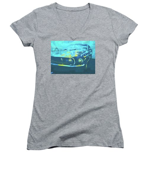 1969 Mustang Mach 1 Blue Pop Women's V-Neck (Athletic Fit)