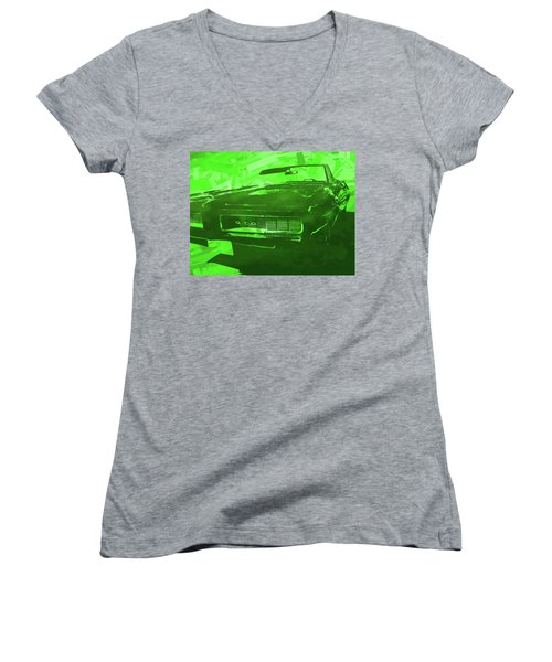 1969 Pontiac Gto Convertible Pop Green Women's V-Neck (Athletic Fit)