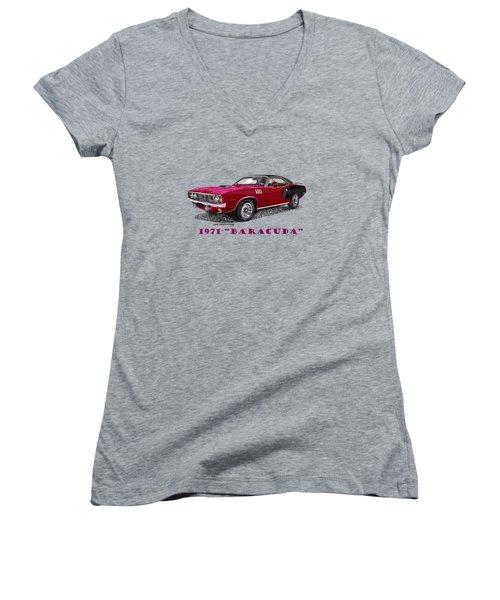 1971 Plymouth Barracuda Women's V-Neck T-Shirt