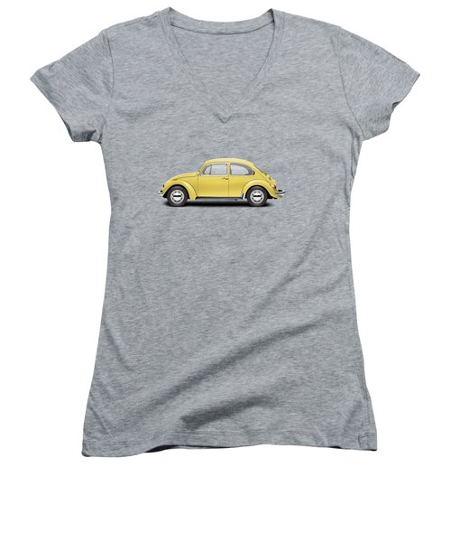 1972 Volkswagen Beetle - Saturn Yellow Women's V-Neck T-Shirt (Junior Cut) by Ed Jackson