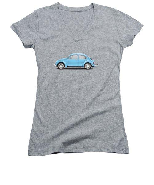 1972 Volkswagen Super Beetle - Marina Blue Women's V-Neck T-Shirt (Junior Cut) by Ed Jackson