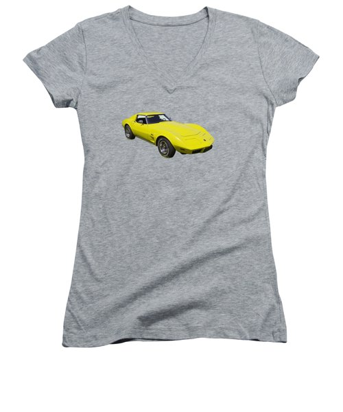 1975 Corvette Stingray Sportscar Women's V-Neck T-Shirt