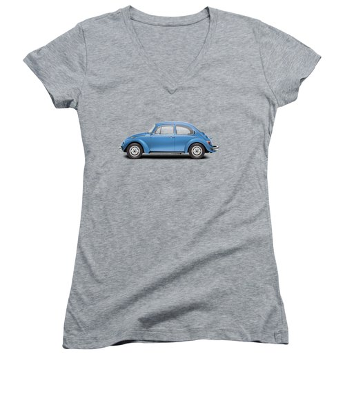1975 Volkswagen Super Beetle - Ancona Blue Metallic Women's V-Neck T-Shirt (Junior Cut) by Ed Jackson