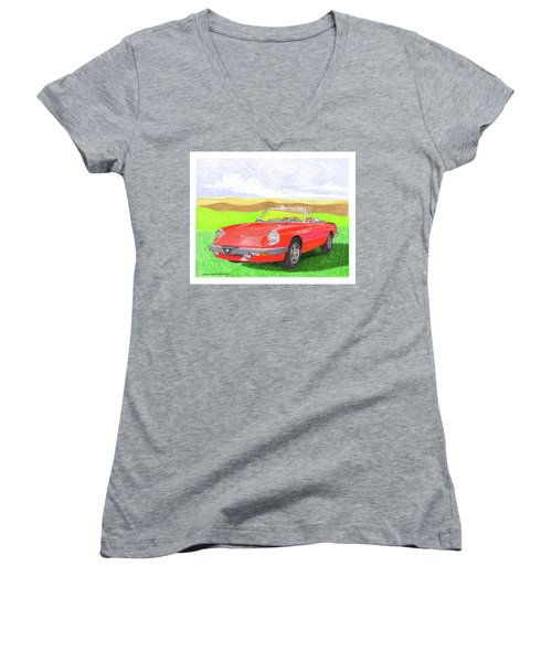 Women's V-Neck T-Shirt (Junior Cut) featuring the painting 1983 Alfa Romero Spider Veloce by Jack Pumphrey