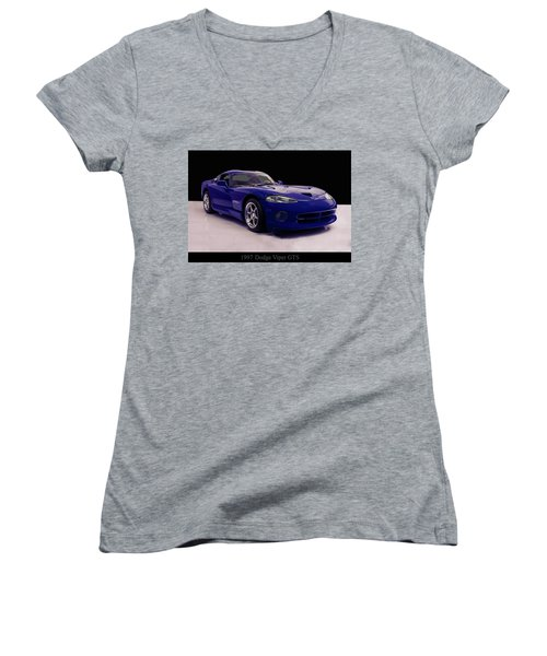 Women's V-Neck T-Shirt (Junior Cut) featuring the digital art 1997 Dodge Viper Gts Blue by Chris Flees