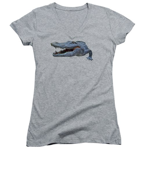 1998 Bull Gator Up Close Transparent For Customization Women's V-Neck T-Shirt