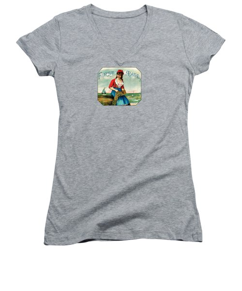 19th C. First Mate Cigars Women's V-Neck T-Shirt (Junior Cut) by Historic Image