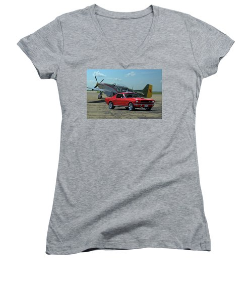 1965 Mustang Fastback Women's V-Neck T-Shirt (Junior Cut) by Tim McCullough