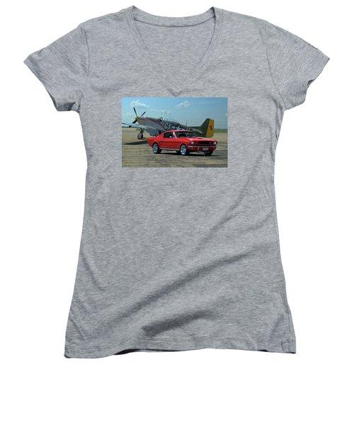 1965 Mustang Fastback Women's V-Neck T-Shirt
