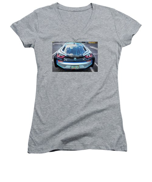 Women's V-Neck T-Shirt (Junior Cut) featuring the photograph 2015 Bmw I8 Hybrid Sports Car by Rich Franco