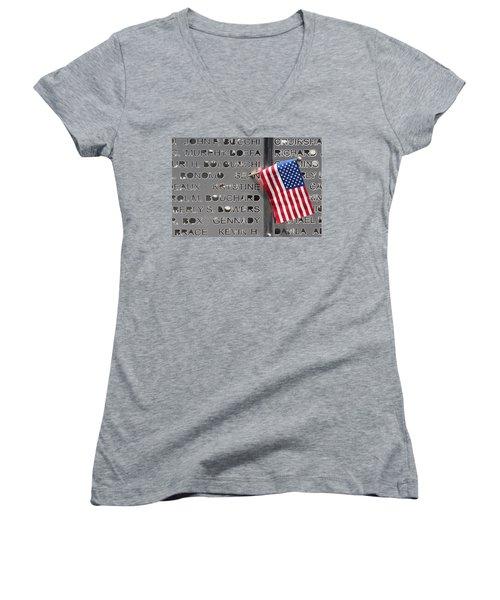 9-11 Memorial Rocky Point New York Women's V-Neck T-Shirt (Junior Cut) by Bob Savage