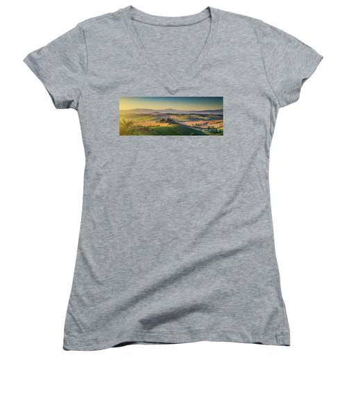 A Golden Morning In Tuscany Women's V-Neck T-Shirt