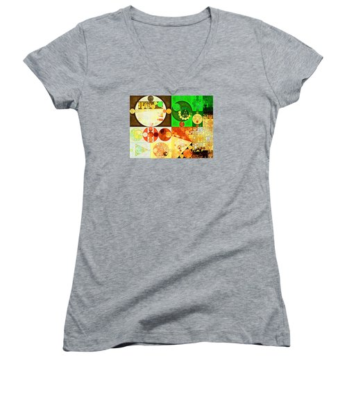 Abstract Painting - Kelly Green Women's V-Neck T-Shirt (Junior Cut) by Vitaliy Gladkiy