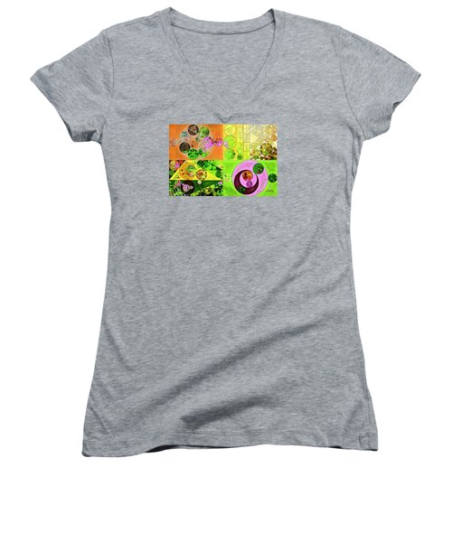 Women's V-Neck T-Shirt (Junior Cut) featuring the digital art Abstract Painting - Turtle Green by Vitaliy Gladkiy