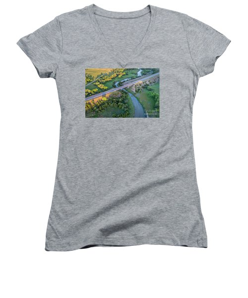 aerial view of Dismal River in Nebraska Women's V-Neck (Athletic Fit)