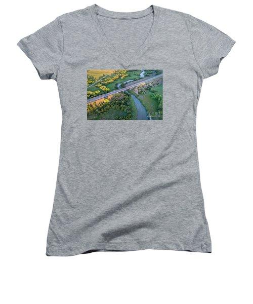 aerial view of Dismal River in Nebraska Women's V-Neck T-Shirt