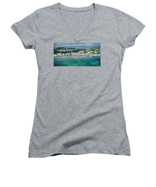 Ambergris Caye Aerial View Women's V-Neck (Athletic Fit)
