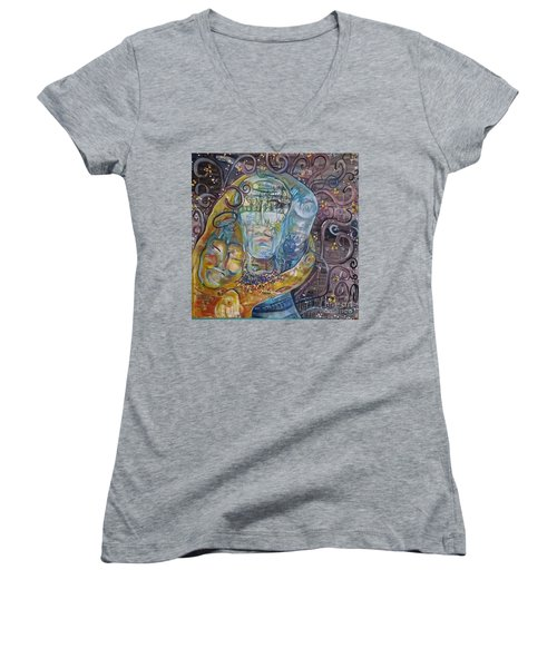 2 Angels Hugging Environmental Warrior Goddess Women's V-Neck T-Shirt (Junior Cut)