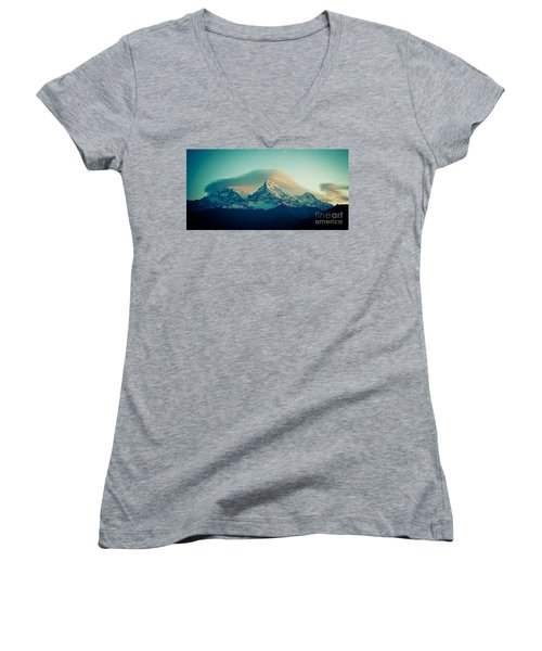 Annapurna South At Sunrise In Himalayas Artmif Photo Raimond Klavins Women's V-Neck