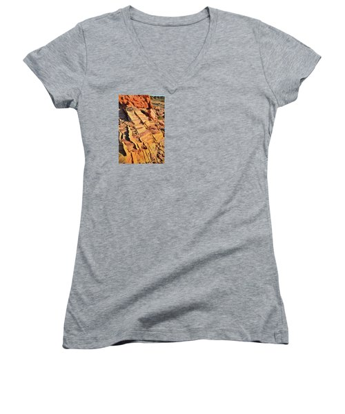 Women's V-Neck T-Shirt (Junior Cut) featuring the photograph Bands Of Color In Valley Of Fire by Ray Mathis