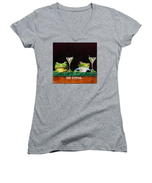 Women's V-Neck T-Shirt (Junior Cut) featuring the painting Bar Hopping... by Will Bullas