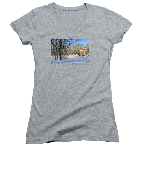 Beautiful Park In Winter With Snow Women's V-Neck (Athletic Fit)