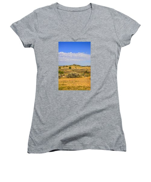 Big Sky Country Women's V-Neck T-Shirt (Junior Cut) by Chris Smith
