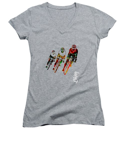Bike Racing Women's V-Neck T-Shirt (Junior Cut) by Marvin Blaine
