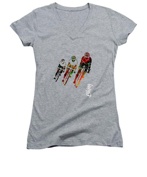 Bike Racing Women's V-Neck T-Shirt