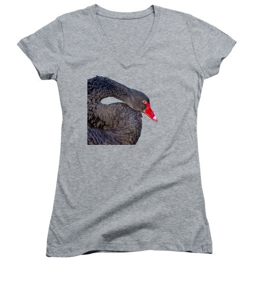 Women's V-Neck T-Shirt (Junior Cut) featuring the photograph Black Swan by Scott Carruthers