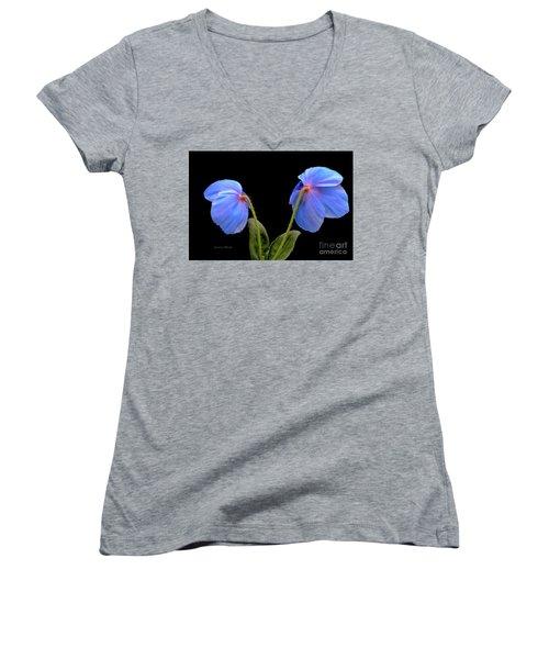 Blue Poppies Women's V-Neck T-Shirt