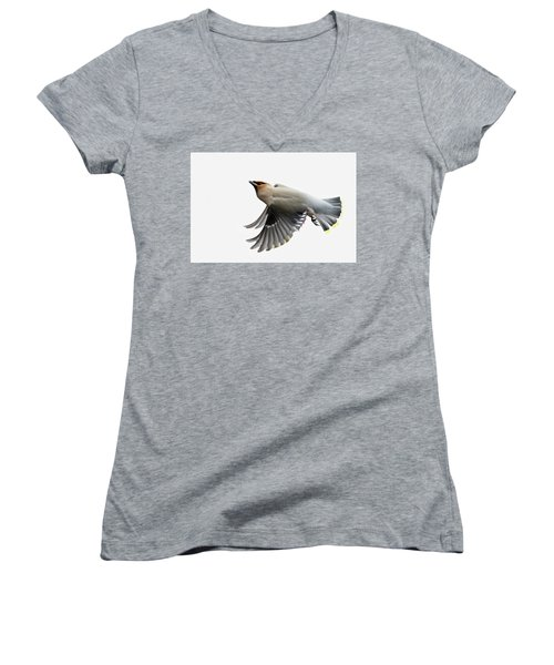 Women's V-Neck T-Shirt (Junior Cut) featuring the photograph Bohemian Waxwing  by Mircea Costina Photography