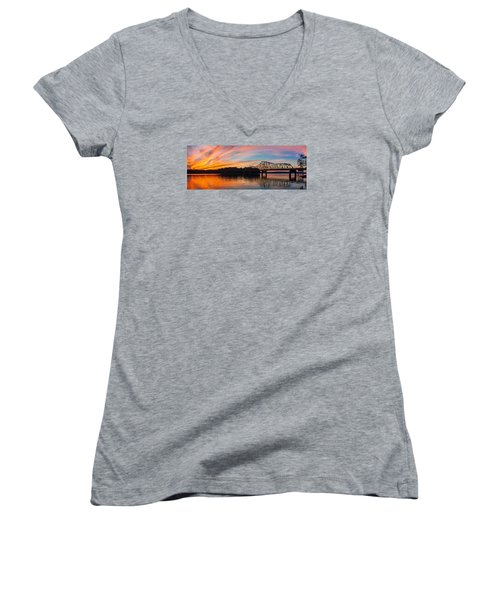 Browns Bridge Sunset Women's V-Neck (Athletic Fit)