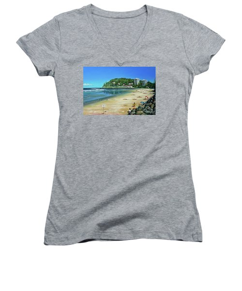 Women's V-Neck T-Shirt (Junior Cut) featuring the painting Burleigh Beach 100910 by Selena Boron