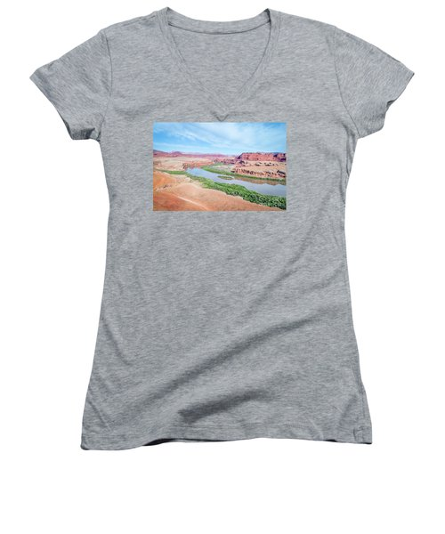 Canyon Of Colorado River In Utah Aerial View Women's V-Neck (Athletic Fit)