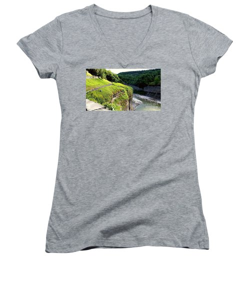 Women's V-Neck T-Shirt (Junior Cut) featuring the photograph Canyon  by Raymond Earley