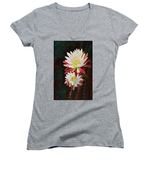 Women's V-Neck T-Shirt (Junior Cut) featuring the painting Cereus Business by Marilyn Smith