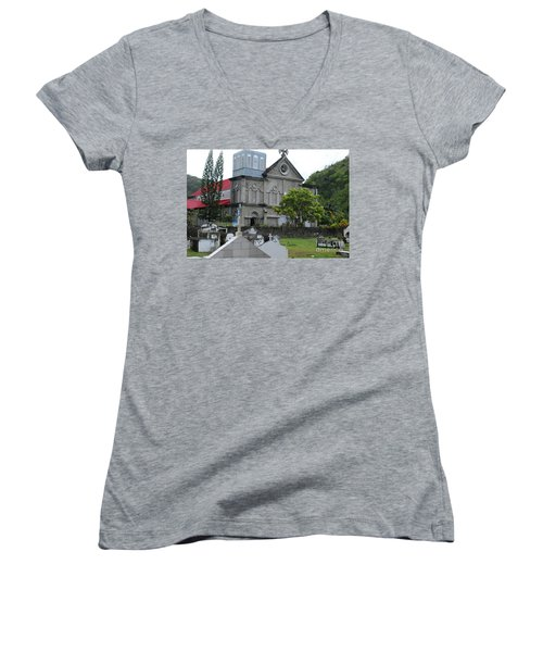 Women's V-Neck T-Shirt featuring the photograph Church by Gary Wonning