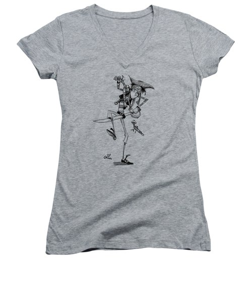 Clumsy Pirate Women's V-Neck T-Shirt (Junior Cut) by Andy Catling