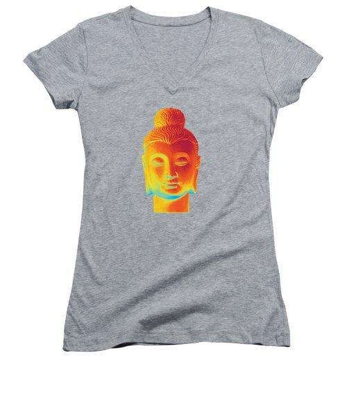 colorful Buddha - Gandhara Women's V-Neck T-Shirt (Junior Cut) by Terrell Kaucher