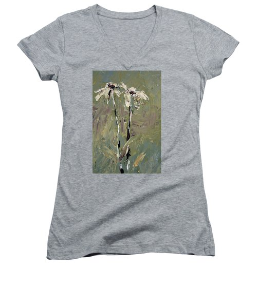 Cone Flowers Women's V-Neck T-Shirt (Junior Cut) by Jim Vance
