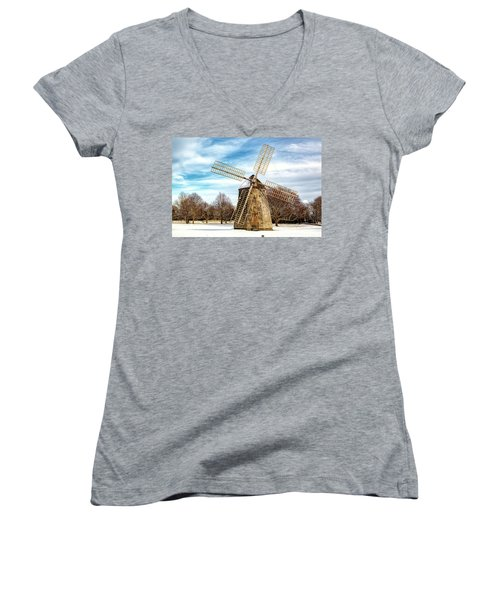 Women's V-Neck T-Shirt (Junior Cut) featuring the photograph Corwith Windmill Long Island Ny Cii by Susan Candelario