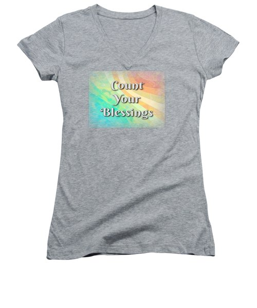 Count Your Blessings Women's V-Neck (Athletic Fit)