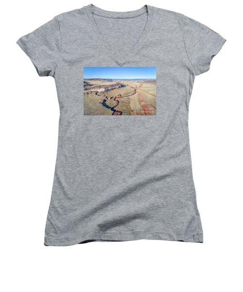 creek at  Colorado foothills - aerial view Women's V-Neck T-Shirt
