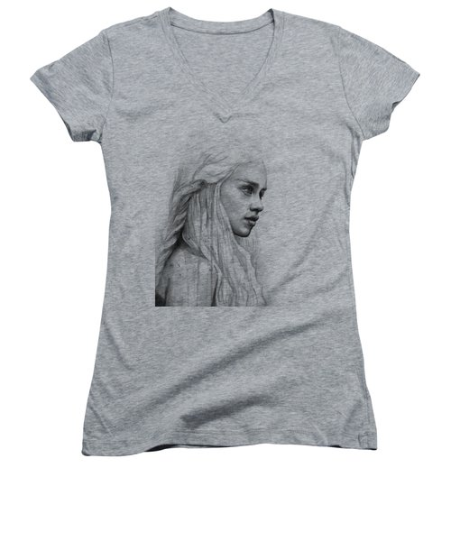 Daenerys Watercolor Portrait Women's V-Neck (Athletic Fit)