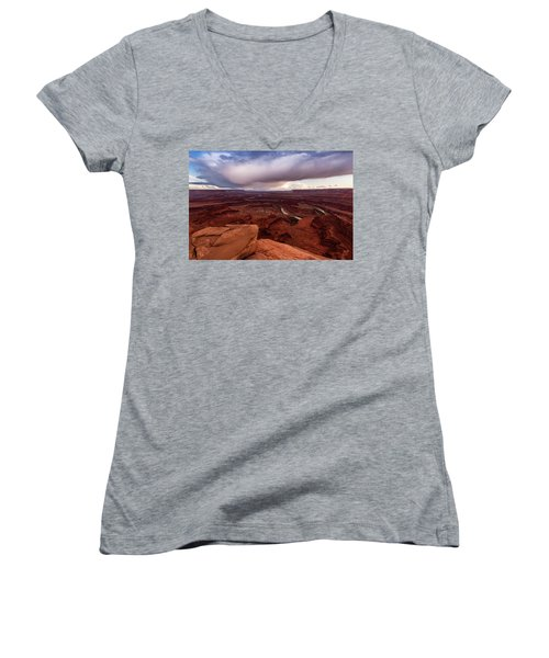 Women's V-Neck T-Shirt (Junior Cut) featuring the photograph Dead Horse Point by Jay Stockhaus
