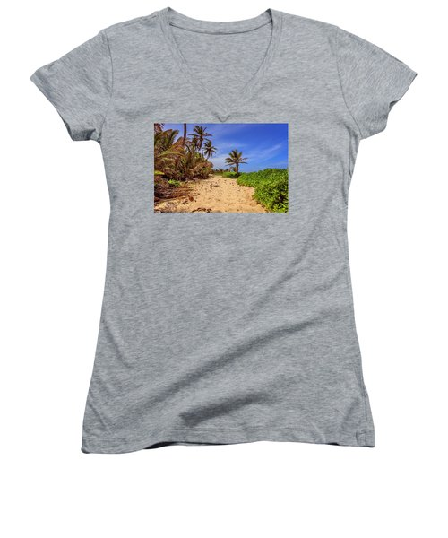 Women's V-Neck T-Shirt featuring the photograph Dominicana Beach by Peter Lakomy