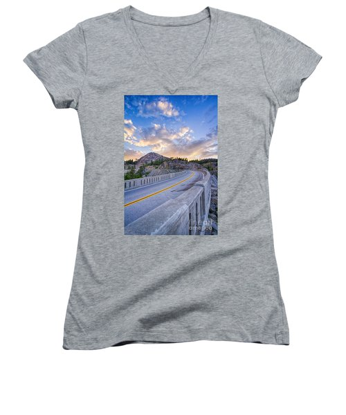 Donner Memorial Bridge Women's V-Neck T-Shirt