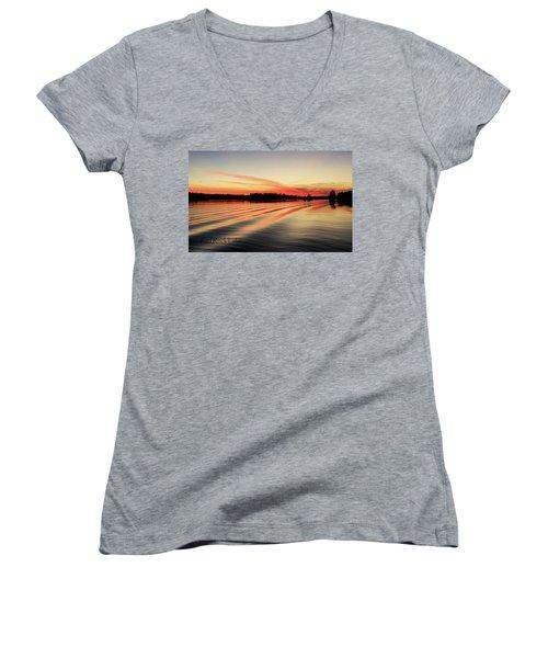 Doug Hobson, Red Rock Lake Women's V-Neck T-Shirt (Junior Cut) by Tom Janca