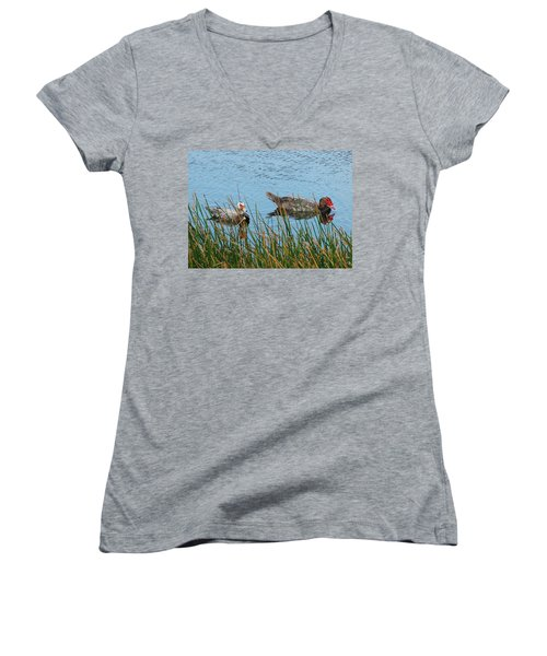 Women's V-Neck T-Shirt (Junior Cut) featuring the photograph 2- Ducks by Joseph Keane